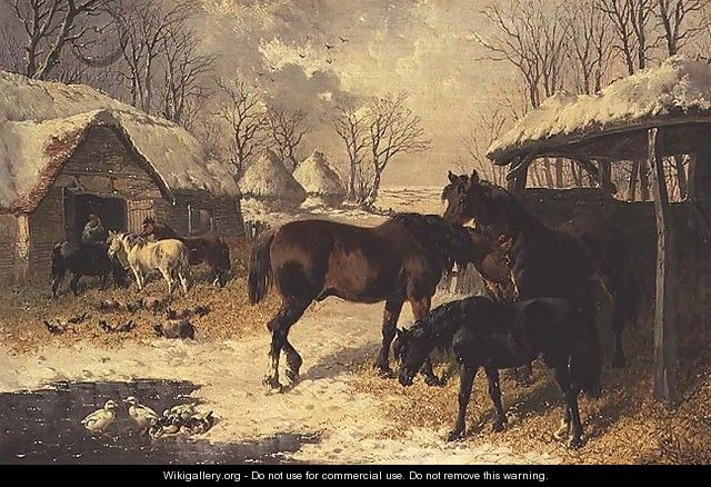 A farmyard in winter - John Frederick Herring, Jnr.