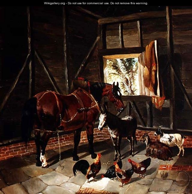 Stable Interior with Cart Horse and Donkey - John Frederick Herring, Jnr.