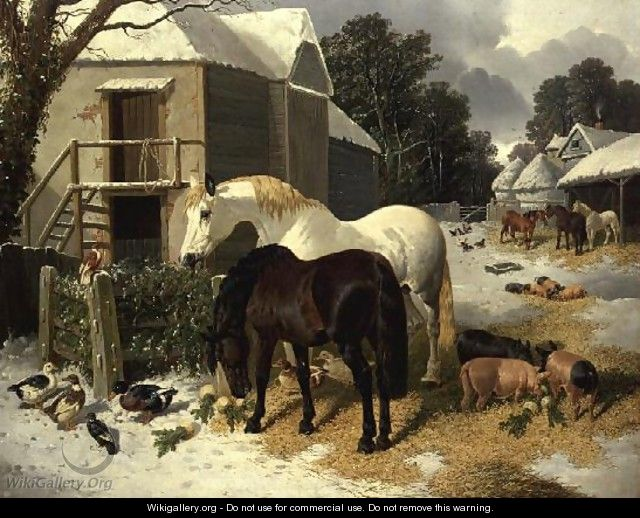 The Farmyard in Winter - John Frederick Herring, Jnr.