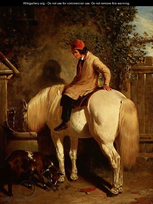 A Corner of a Farmyard with a Boy Sitting on a Grey Horse and a Goat eating nearby - John Frederick Herring Snr