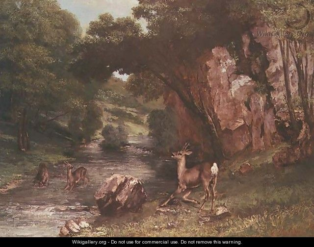 Deer by a River (Chevreuils a la Riviere) - Gustave Courbet
