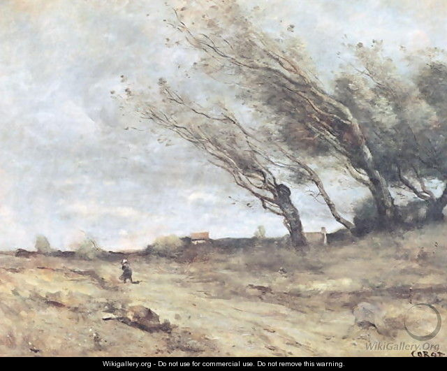 The Gust of Wind, c.1865-70 - Jean-Baptiste-Camille Corot