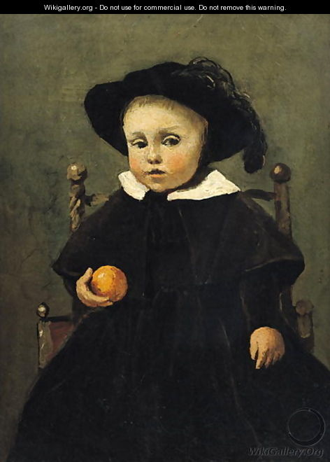 The Painter Adolphe Desbrochers (1841-1902) as a Child, Holding an Orange, 1845 - Jean-Baptiste-Camille Corot