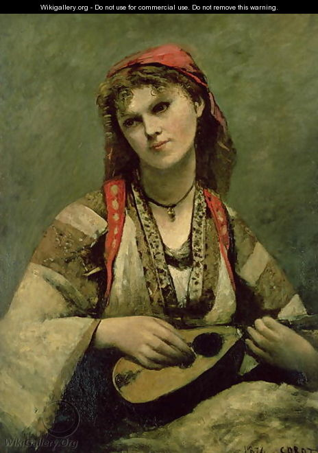 Christine Nilson (1843-1921) or The Bohemian with a Mandolin, 1874 - Jean-Baptiste-Camille Corot