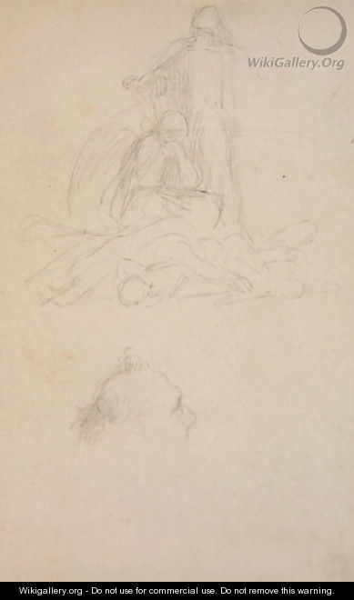 Studies of Death and the Resurrection, and a Head of a Man, c.1860 - George Frederick Watts