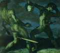 Perseus turns Phineus to stone by brandishing the head of Medusa, 1908 - Franz von Stuck