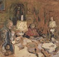 The Dinner with Two Lamps, rue de Calais, 1913 - Edouard (Jean-Edouard) Vuillard