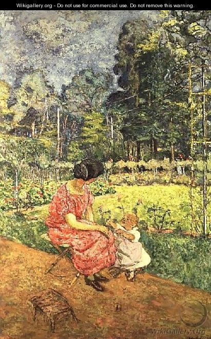 Woman and Child in a Garden (2) - Edouard (Jean-Edouard) Vuillard