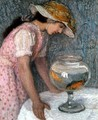 Young Girl with a Goldfish - Edmond-Francois Aman-Jean