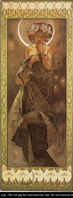 The Moon. From The Moon and the Stars Series. 1902 - Alphonse Maria Mucha
