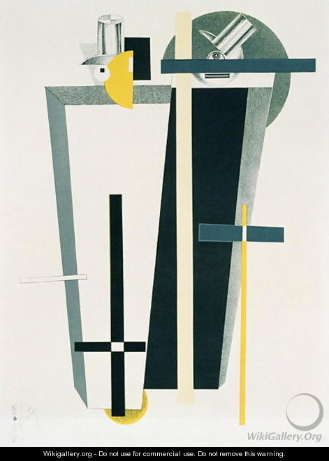 Abstract composition in grey, yellow and black - Eliezer (El) Markowich Lissitzky