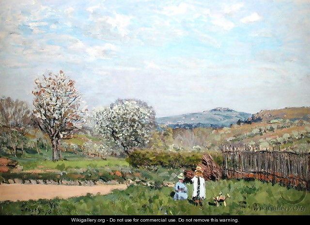 Children playing in the Meadow - Alfred Sisley