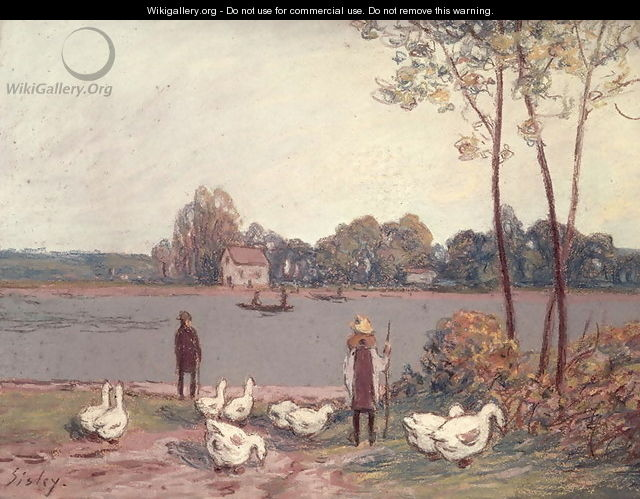 On the Banks of the Loing - Alfred Sisley