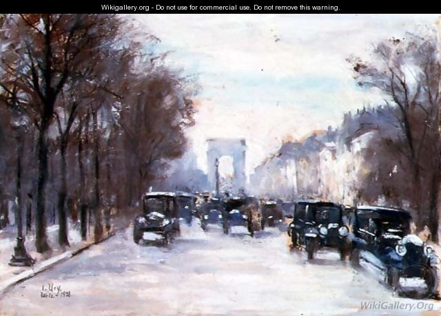 Towards the Arc de Triomphe, Paris, 1928 - Lesser Ury
