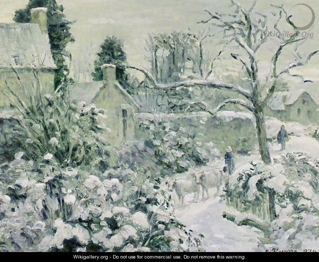 Effect of Snow with Cows at Montfoucault, 1874 - Camille Pissarro