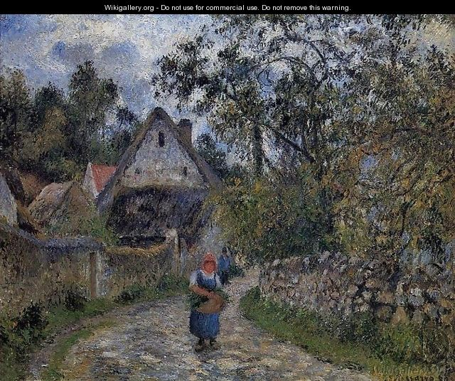 The village path - thatched cottages in Valhermeil, 1880 - Camille Pissarro