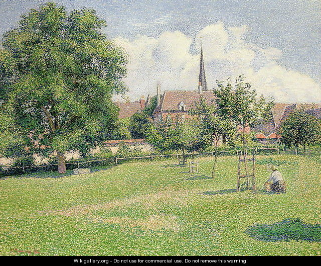 The House of the Deaf Woman and the Belfry at Eragny, 1886 - Camille Pissarro