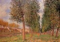 The Poplar Avenue at Moret, Cloudy Day, Morning, 1888 - Alfred Sisley
