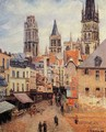 Rue de l'epicerie at Rouen, on a Grey Morning, 1898 - Camille Pissarro