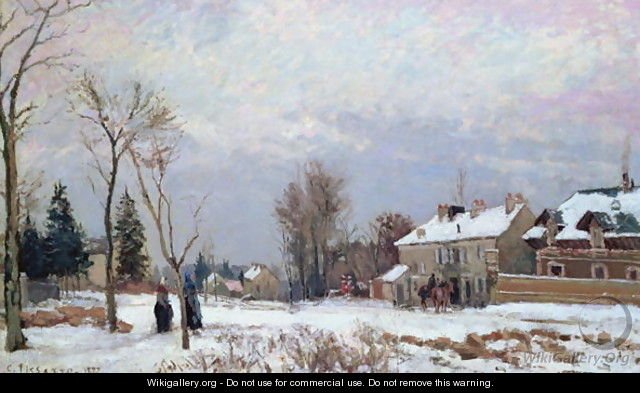 Road from Versailles to Saint-Germain, Louveciennes, and effects of snow, 1872 - Camille Pissarro