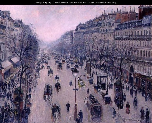 Boulevard Montmartre, Morning, Cloudy Weather, 1897 - Camille Pissarro