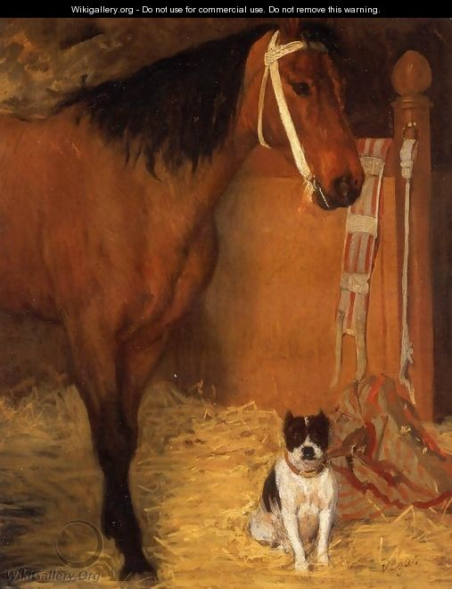 At the Stable, Horse and Dog, c.1862 - Edgar Degas