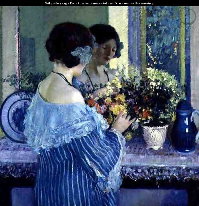 Girl in Blue Arranging Flowers - Frederick Carl Frieseke