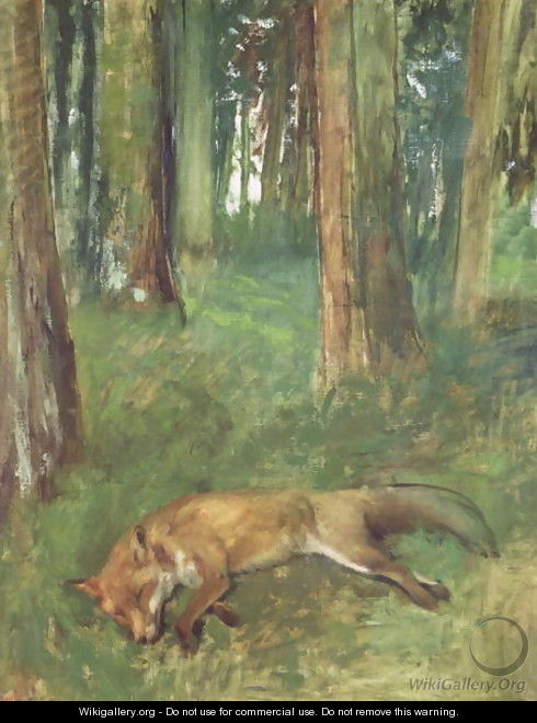Dead fox lying in the Undergrowth, 1865 - Edgar Degas