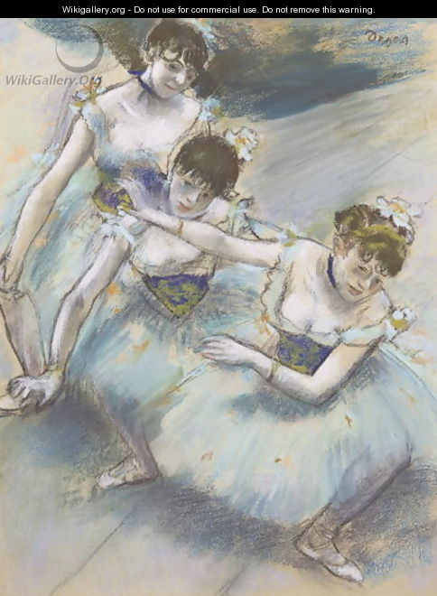 Three Dancers in a Diagonal Line on the Stage, c.1882 - Edgar Degas