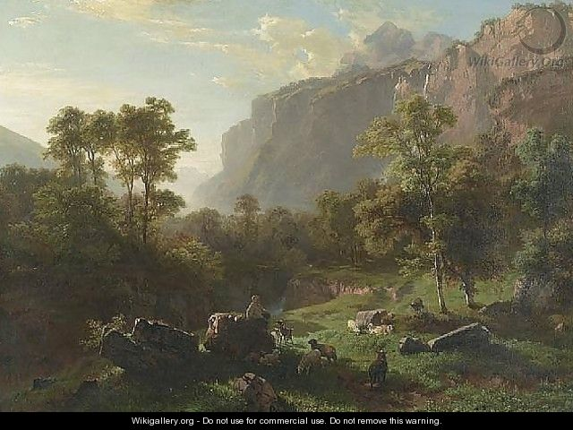 Young herdsman with goats and sheep, 1858 - Johann Gottfried Steffan