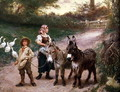 Peasant Children with Donkeys - Edgar Bundy