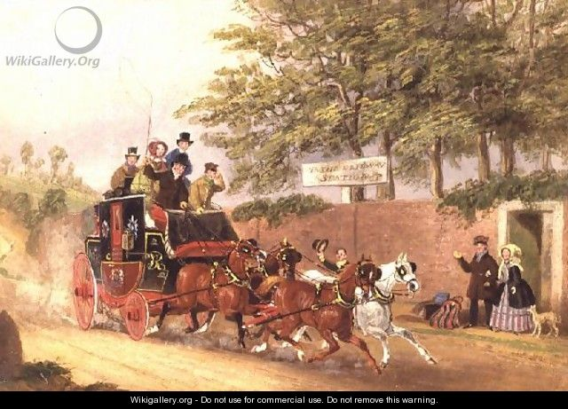 A Mail coach passing travellers on a road - James Pollard