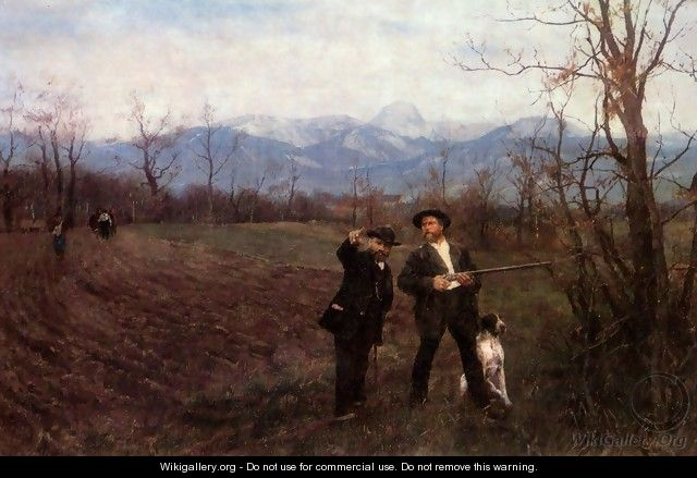 Wilhelm Leibl and Sperl on the hunt, 1890-1895 - Wilhelm Leibl