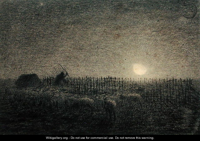 The Shepherd at the Fold by Moonlight - Jean-Francois Millet