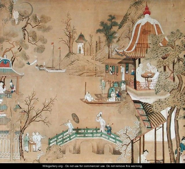 Detail of the wallpaper in the Chinese bedroom depicting a daily life scene, c.1760 - Anonymous Artist