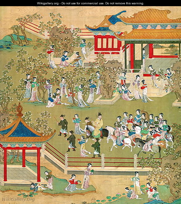 Emperor Yang Ti (581-618) strolling in his gardens with his wives, from a history of Chinese emperors 2 - Anonymous Artist