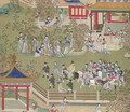 Emperor Yang Ti (581-618) strolling in his gardens with his wives, from a history of Chinese emperors - Anonymous Artist