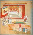 Emperor Hui Tsung (r.1100-26) practising with the Buddhist sect Tao-See, from a History of the Emperors of China - Anonymous Artist
