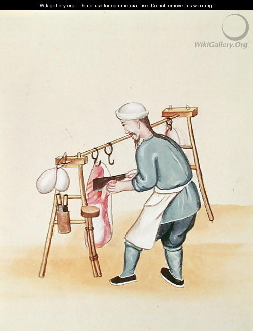 The Meat Seller, from a book on the street calls of Peking, c.1785 - Anonymous Artist