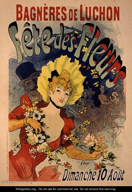 Reproduction of a Poster Advertising the Flower Festival at Bagneres-de-Luchon, 1890 - Jules Cheret