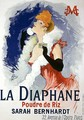 Reproduction of a poster advertising 'La Diaphane', translucent face-powder, modelled by Sarah Bernhardt (1844-1923), 1890 - Jules Cheret