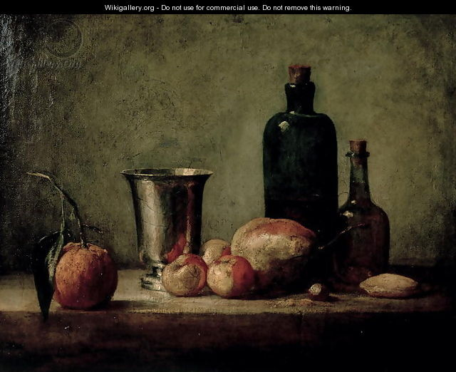 Still-life with Silver Beaker, Fruit and Bottles on a Table - Jean-Baptiste-Simeon Chardin