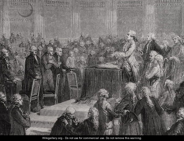 King Louis XVI (1754-93) Accepts and Swears to the Constitution, 14th September 1791 - H. de la Charlerie