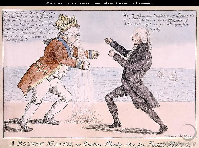 A Boxing Match or, Another Bloody Nose for John Bull - William Charles