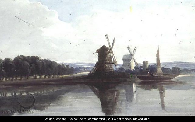 Windmills by a River - John Chase