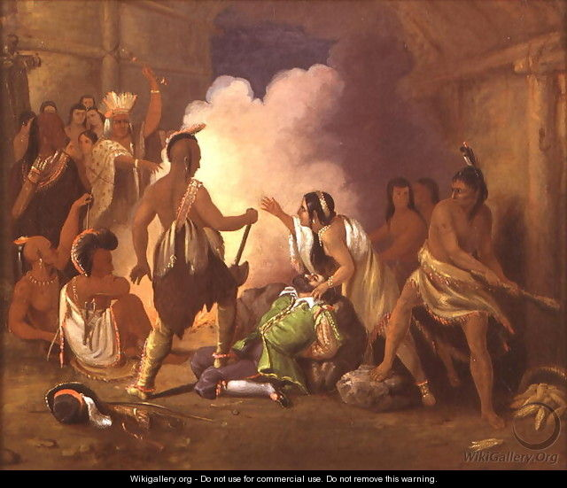 Pocahontas saving the life of Captain John Smith, c.1836-40 - John Gadsby Chapman