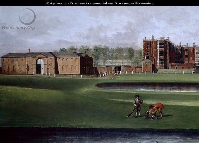 View of Temple Newsam House (detail of the riding school) c.1750 - James Chapman