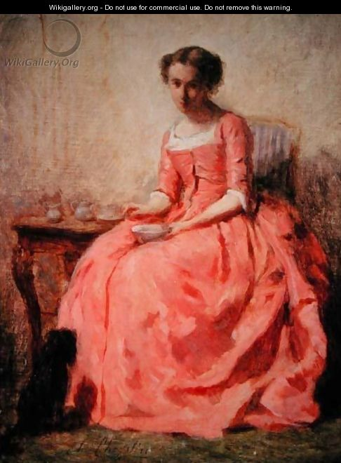Girl in a pink dress at a table - Charles Chaplin