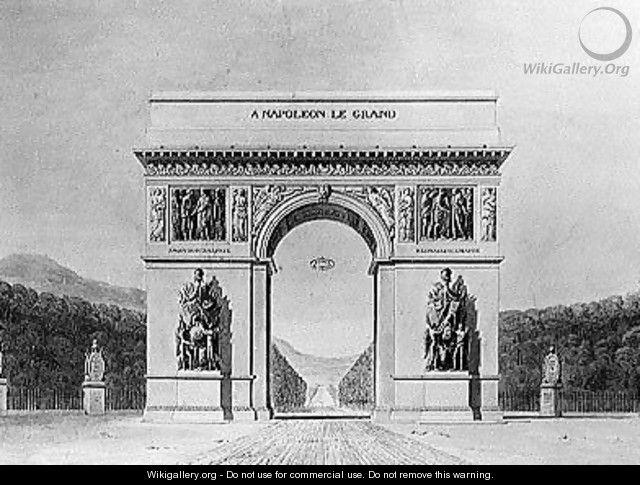 Design for the Arc de Triomphe with a wooded background - Circle of Chalgrin, Jean Francois Therese