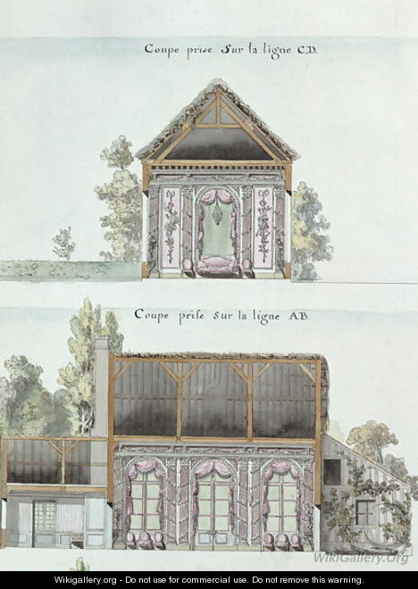 Cross-sections of the dining room of the Chateau de Chantilly, f.16 from the